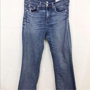 Rag & Bone Jeans High Rise Crop Straight Fray Hem